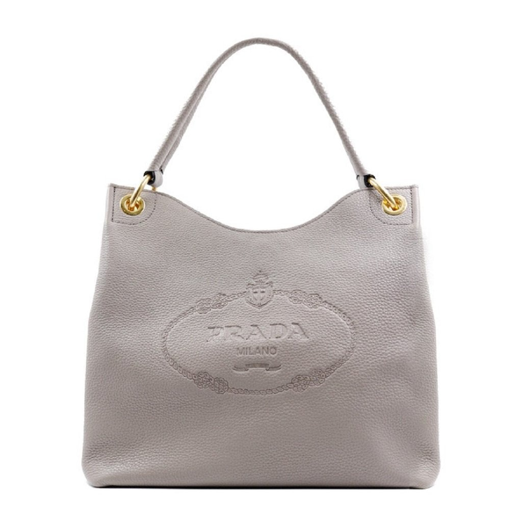 Prada Vitello Daino Satchel Gray
