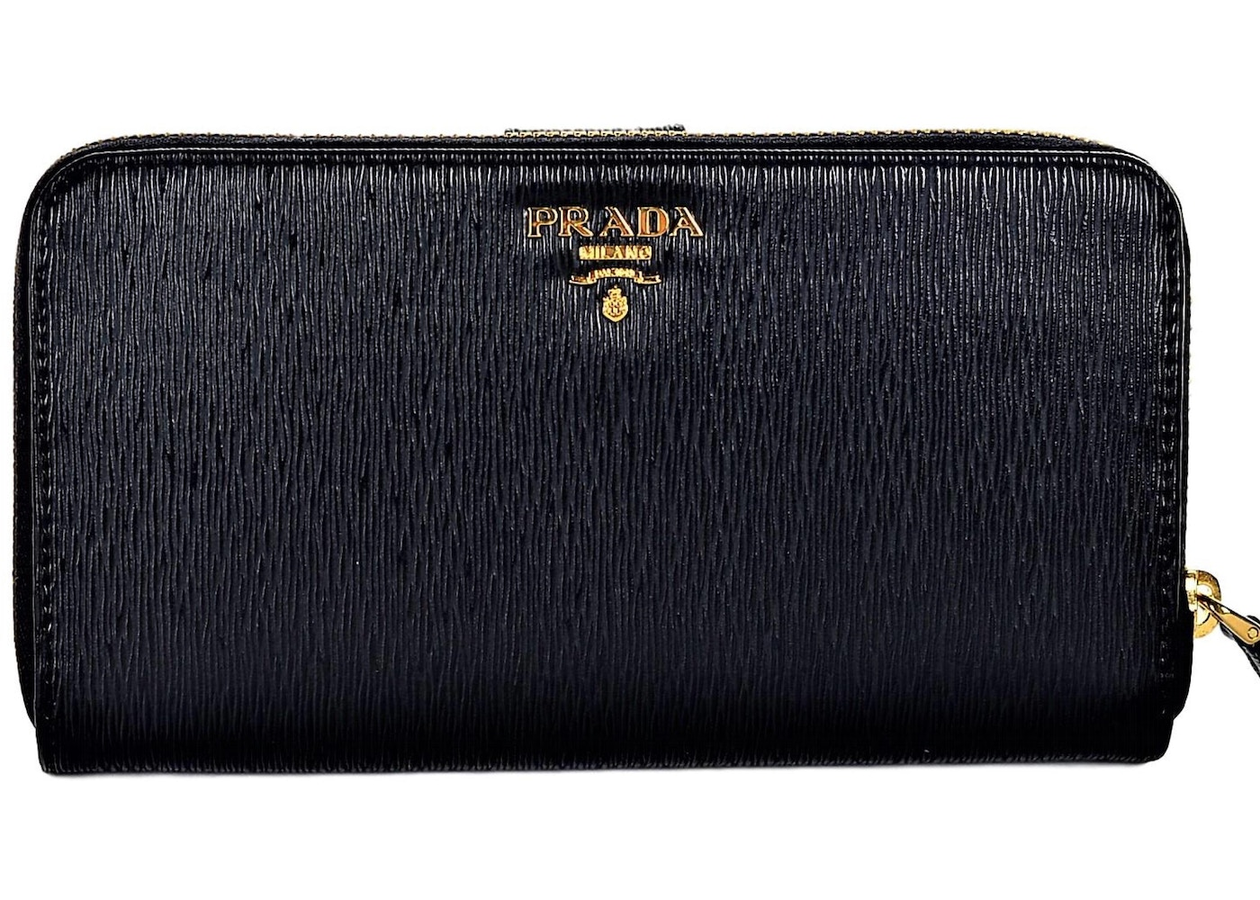 b4552d3c5d8cd Prada Vitello Full Zip Wallet Black