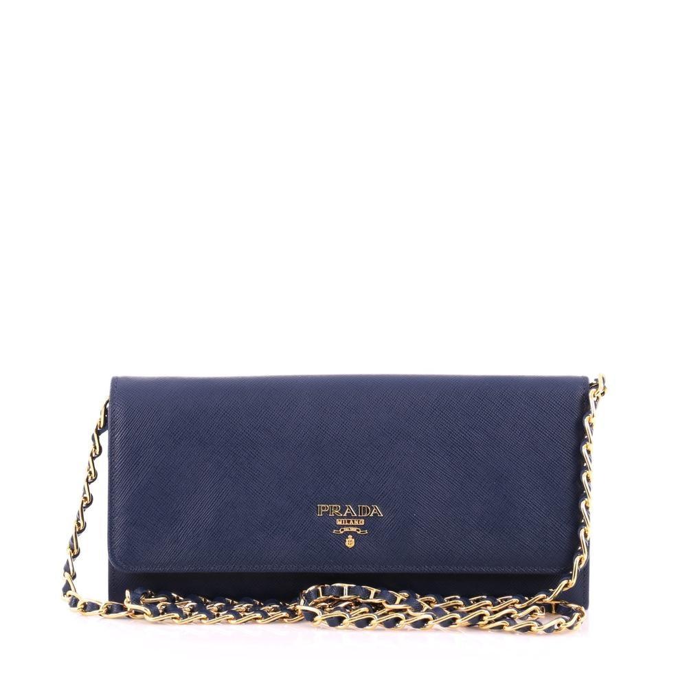 Prada Crossbody Wallet Saffiano Bluette Blue