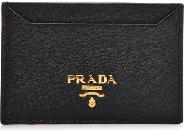 98f9984e02a0 Prada Metal Card Case Wallet Saffiano Nero Black