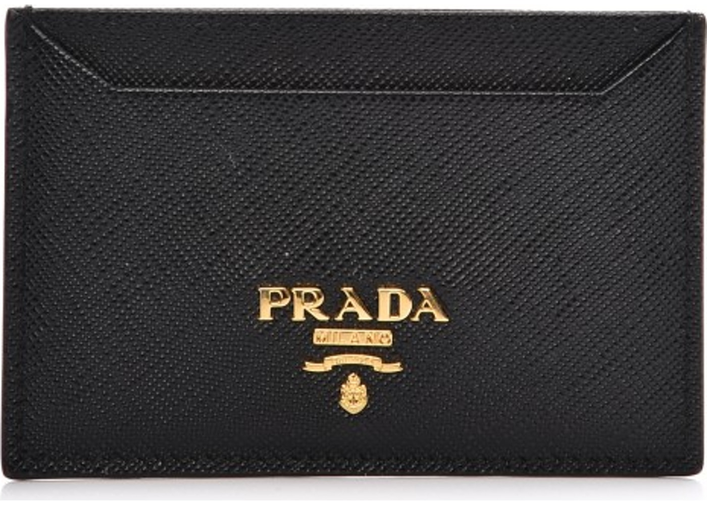 cff8037b8f0a Prada Metal Card Case Wallet Saffiano Nero Black. Saffiano Nero Black
