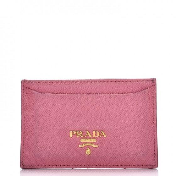 Prada Metal Card Case Wallet Saffiano Pink