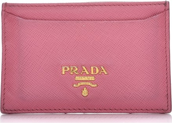 bc65cafe84be Prada Metal Card Case Wallet Saffiano Pink