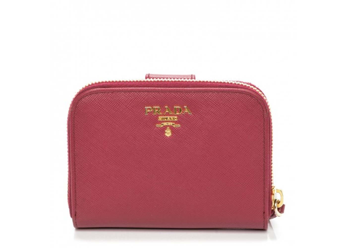 55c2b8f63a Prada Metal Compact Wallet Saffiano Ibisco Dark Pink