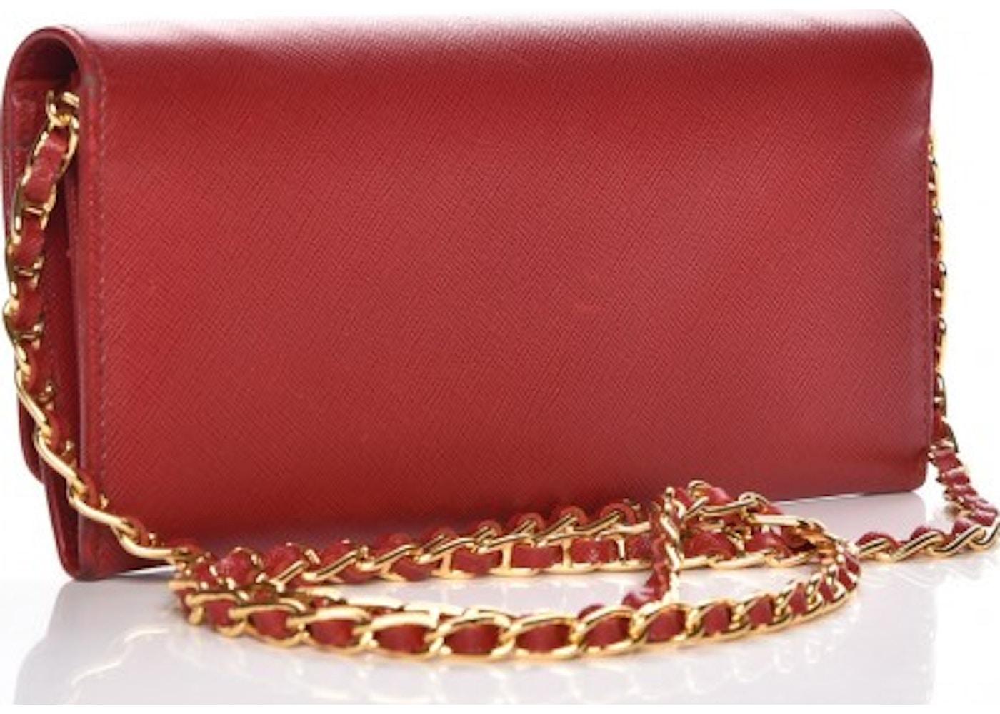 b424bd5d74ff Prada Metal Oro Chain Wallet Saffiano Fuoco Red