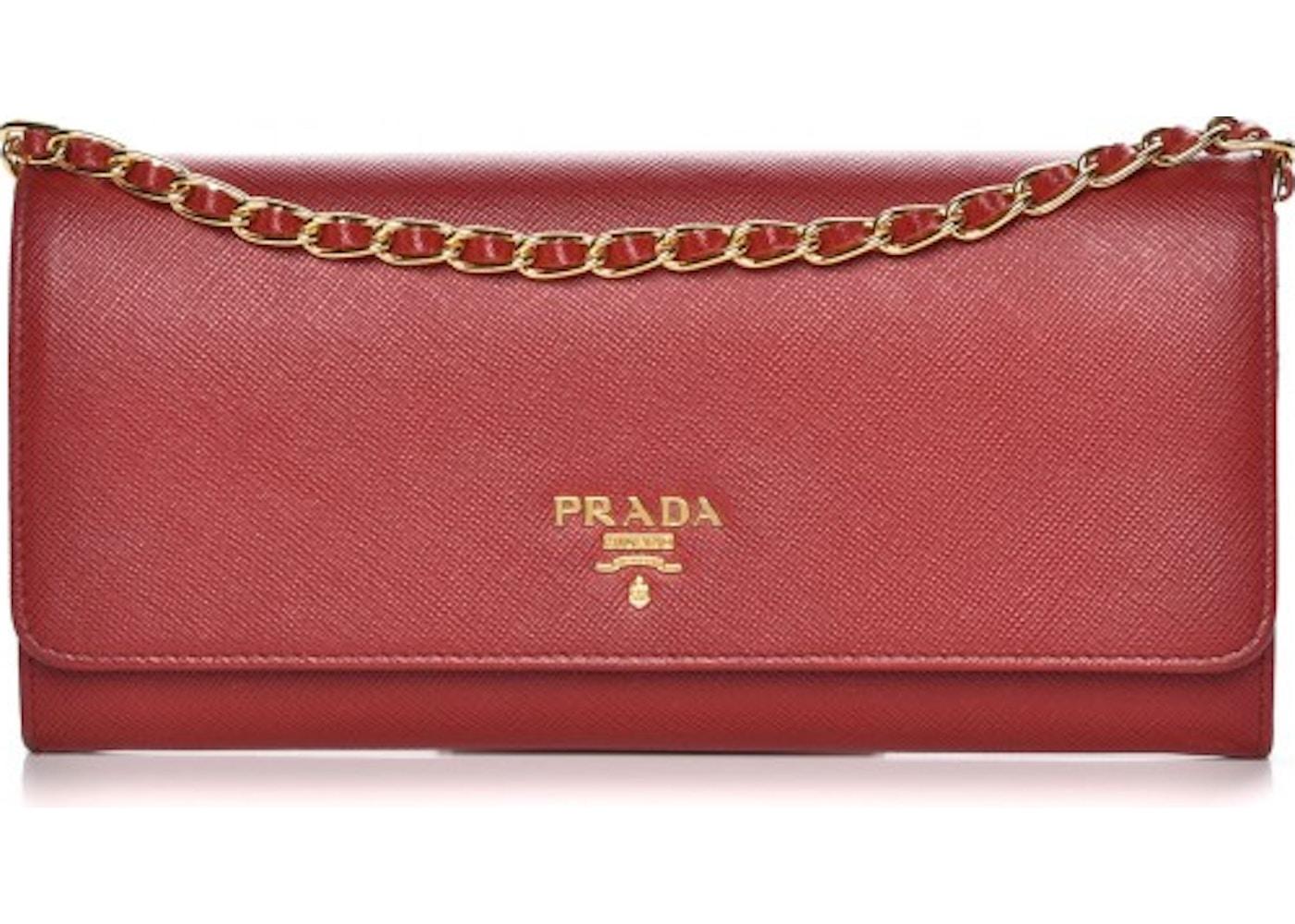 de7d1b4e83ef Prada Metal Oro Chain Wallet Saffiano Fuoco Red. Saffiano Fuoco Red