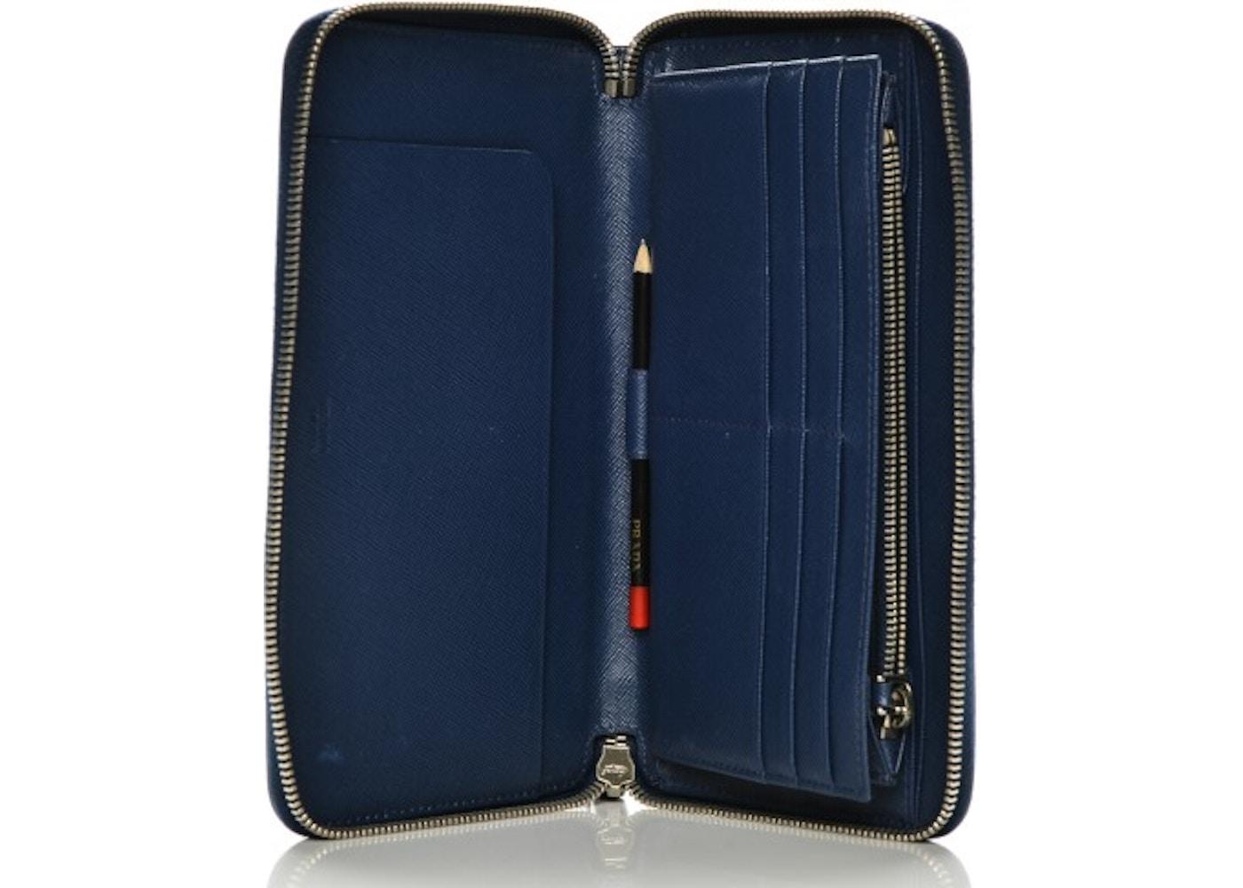abdd5a5d37db Prada Zip Around Travel Wallet Saffiano Large Bluette Blue