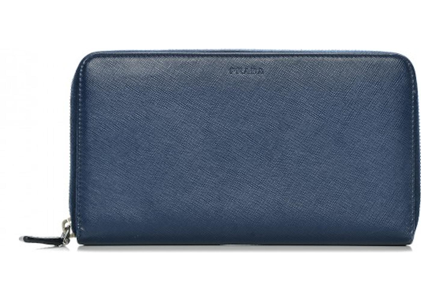93d6b78a8081 Prada Zip Around Travel Wallet Saffiano Large Bluette Blue. Saffiano Large  Bluette Blue