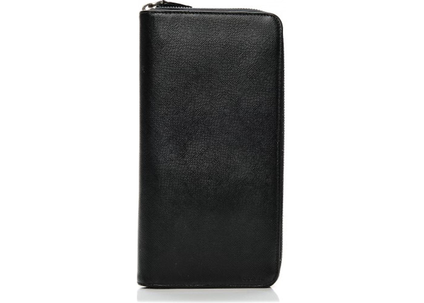 25a8f849fc4a Prada Zip Around Travel Wallet Saffiano Large Nero Black. Saffiano Large Nero  Black