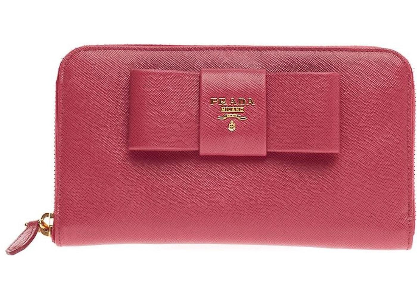 564cee042cbb82 Prada Zip Around Bow Wallet Saffiano Pink. Saffiano Pink