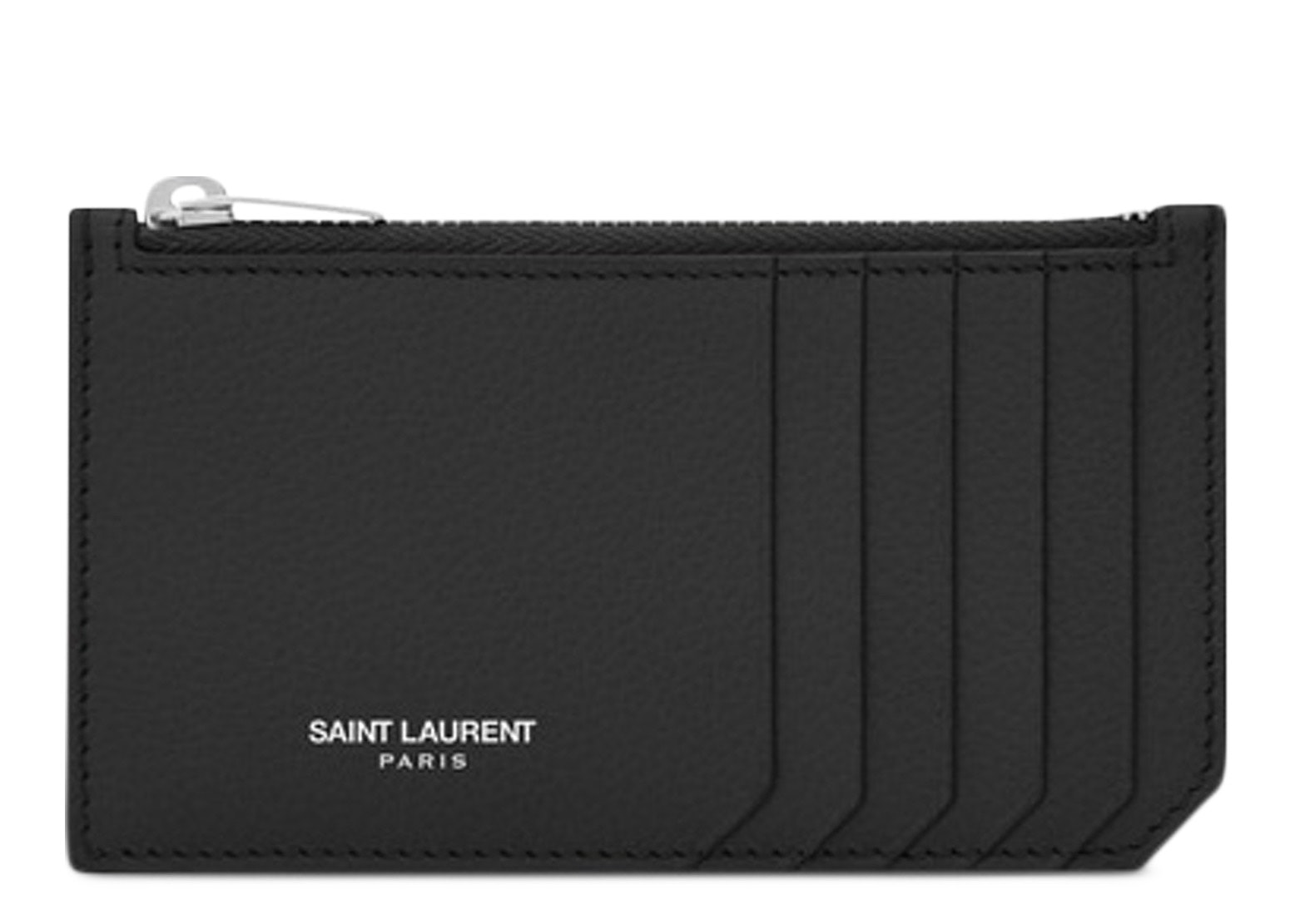 Saint Laurent 5 Fragments Pouch Card Case Grained Leather Black