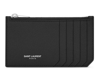 Saint Laurent 5 Fragments Pouch Card Case Grained Leather Black