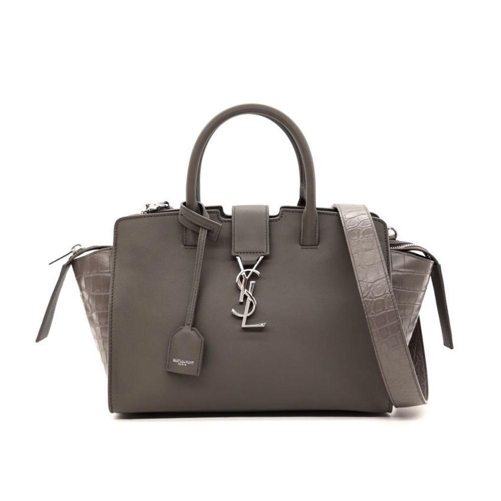 Saint Laurent Cabas Handbag Crocodile Gray