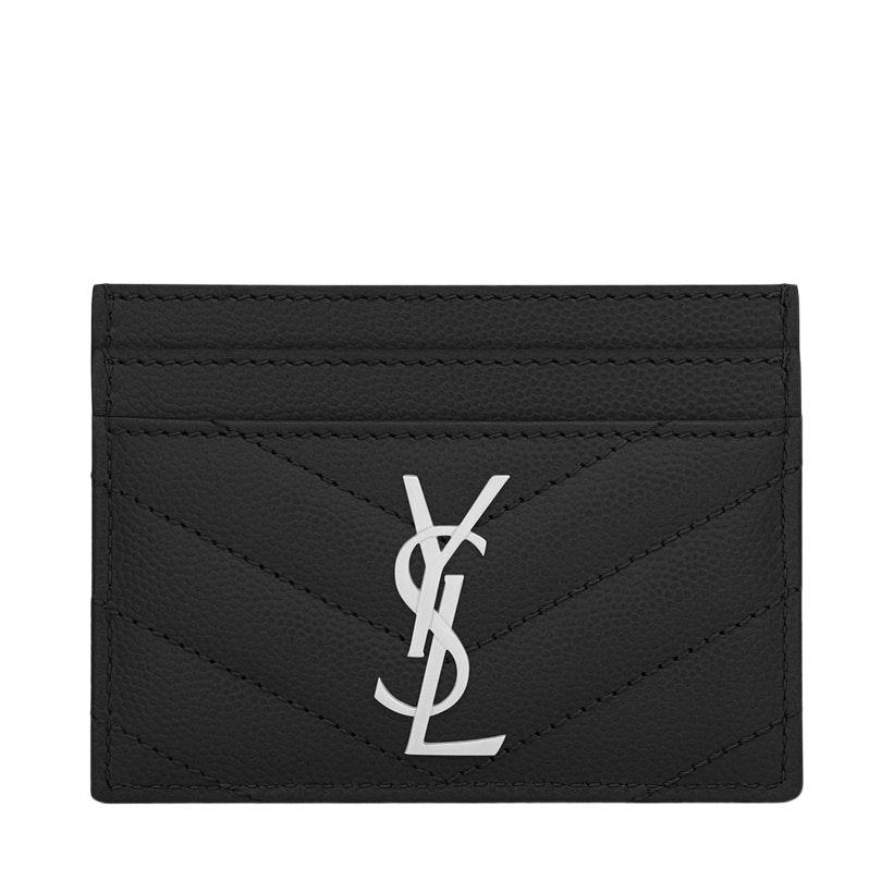 Saint Laurent Card Case Grain de Poudre Silver-tone Matelasse Black