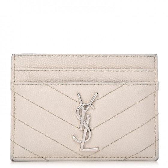 Saint Laurent Card Case Matelasse White