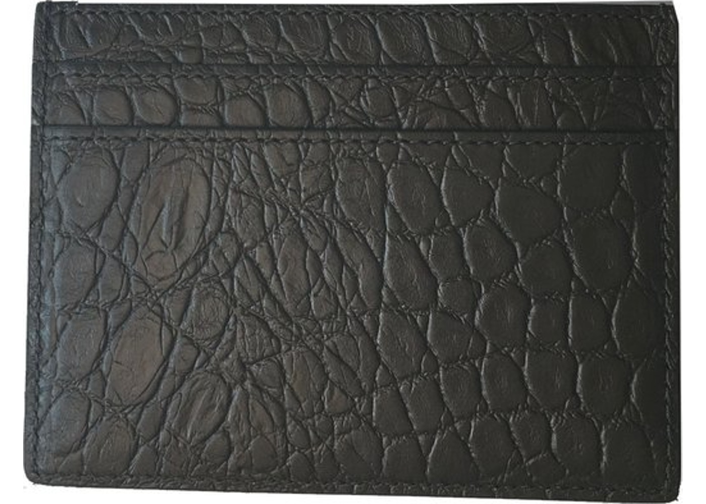 684cf9adc1e6 Saint Laurent Card Holder Crocodile Print Coal