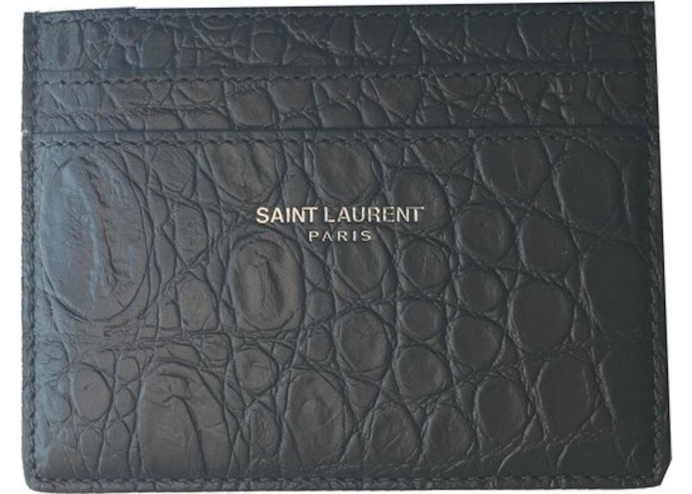 35f93640d374 Saint Laurent Card Holder Crocodile Print Coal. Crocodile Print Coal