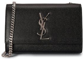 2c86dc5c Saint Laurent Chain Kate Textured Leather Interlocking Metal YSL Signature  Small Black