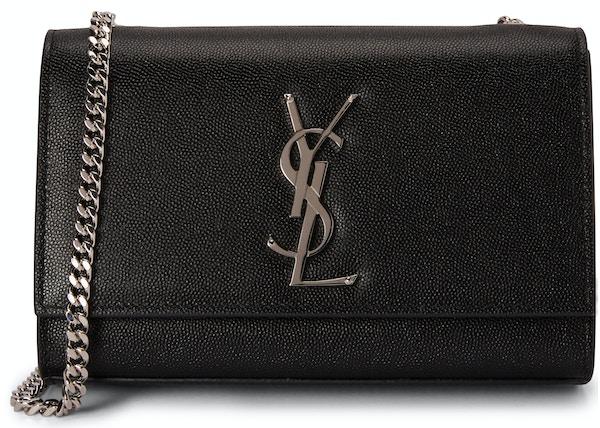 Saint Laurent Chain Kate Textured Leather Interlocking Metal YSL Signature  Small Black 37345b6ce6d0b