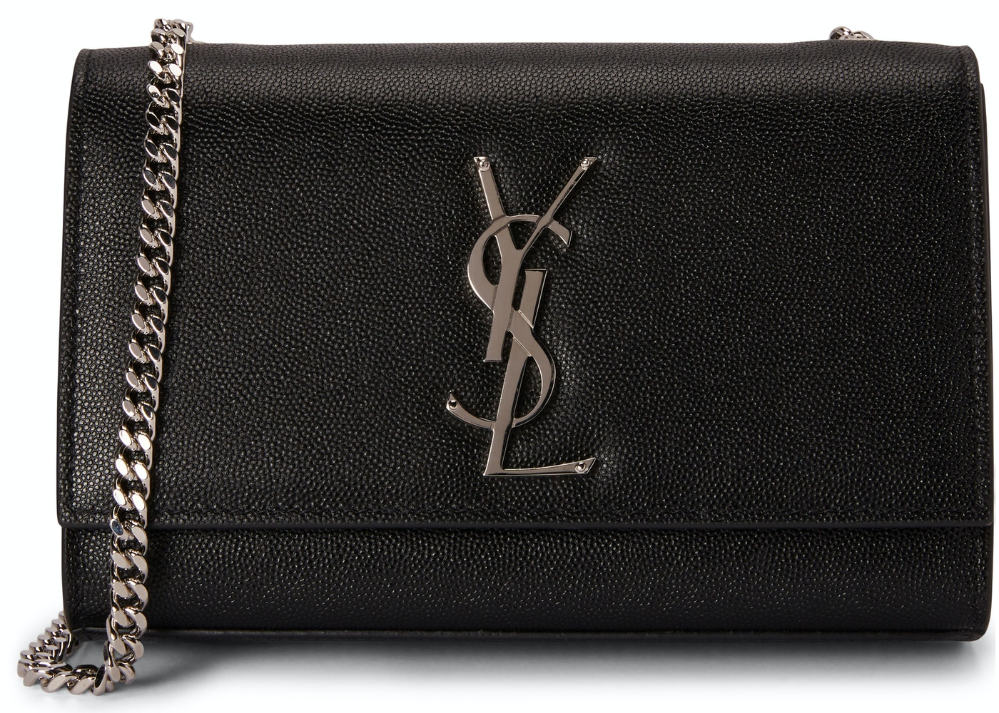 409bf290827c Saint Laurent Chain Kate Textured Leather Interlocking Metal YSL Signature  Small Black. Textured Leather Interlocking Metal YSL Signature Small Black