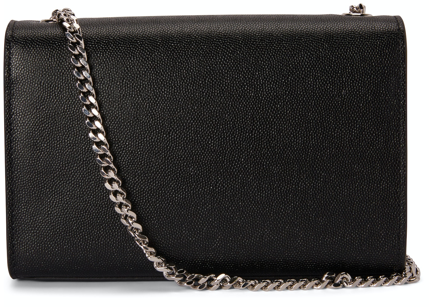 10388ce9463d Saint Laurent Chain Kate Textured Leather Interlocking Metal YSL Signature  Small Black