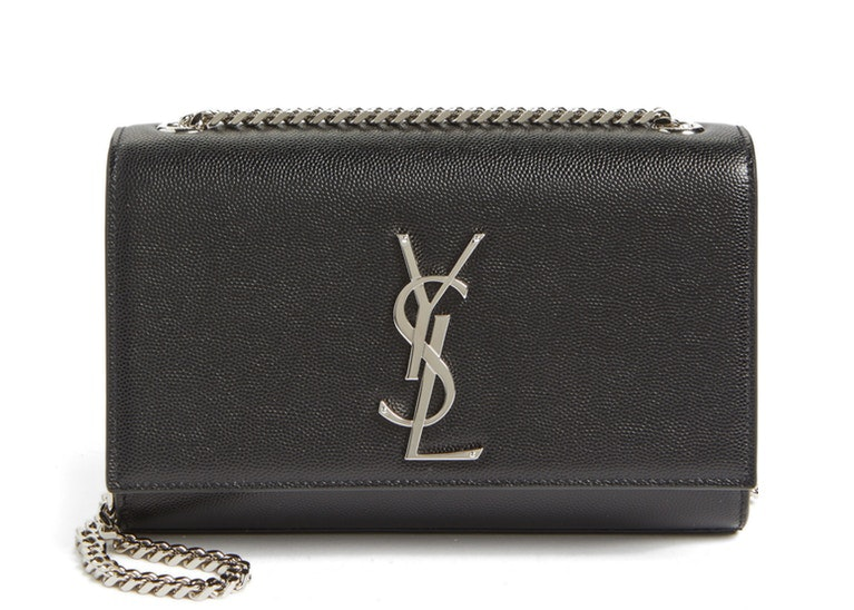 Saint Laurent Chain Kate Textured Leather Interlocking Metal YSL Signature Small Black