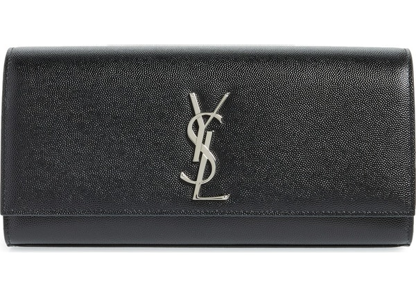 836dc8c7e52 Saint Laurent Clutch Kate YSL Silver-Tone Black