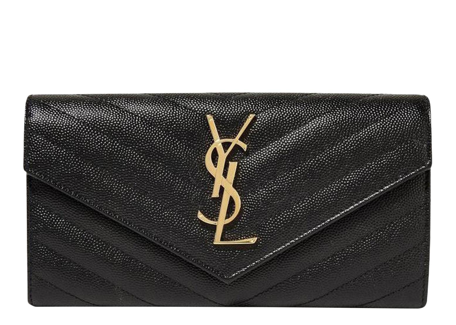 Saint Laurent College Flap Wallet Matelasse Large Black