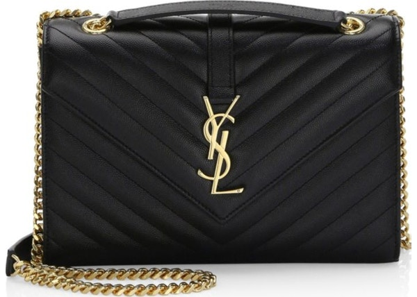 918435a3fdd6e Saint Laurent Envelope Shoulder Bag Matelasse Grained Leather Gold-tone  Medium Black