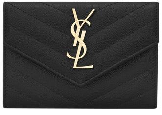 Saint Laurent Envelope Wallet Matelasse Grain de Poudre Small Black