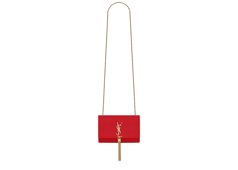 Saint Laurent Kate Bag Grain De Poudre Embossed Leather Gold-tone Small Bandana Red