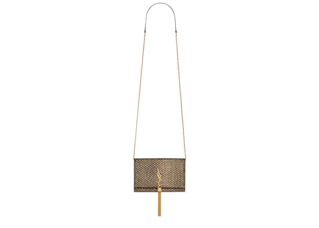 Saint Laurent Kate Chain Wallet Metallic Python Gold-tone Gold