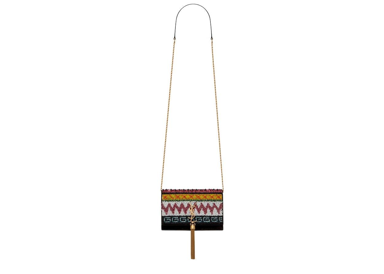 Saint Laurent Kate Chain Wallet Zigzag Embroidery Goatskin Gold-tone Black