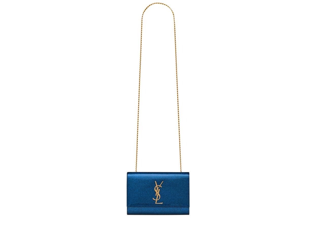 Saint Laurent Kate Crossbody Glitter Patent Leather Small Blue