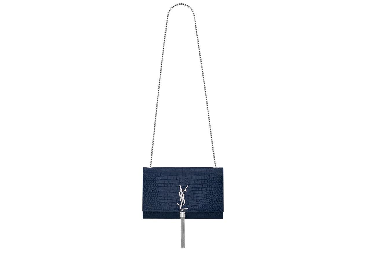 Saint Laurent Kate Crossbody Tassel Crocodile Embossed Shiny Leather Medium Blue