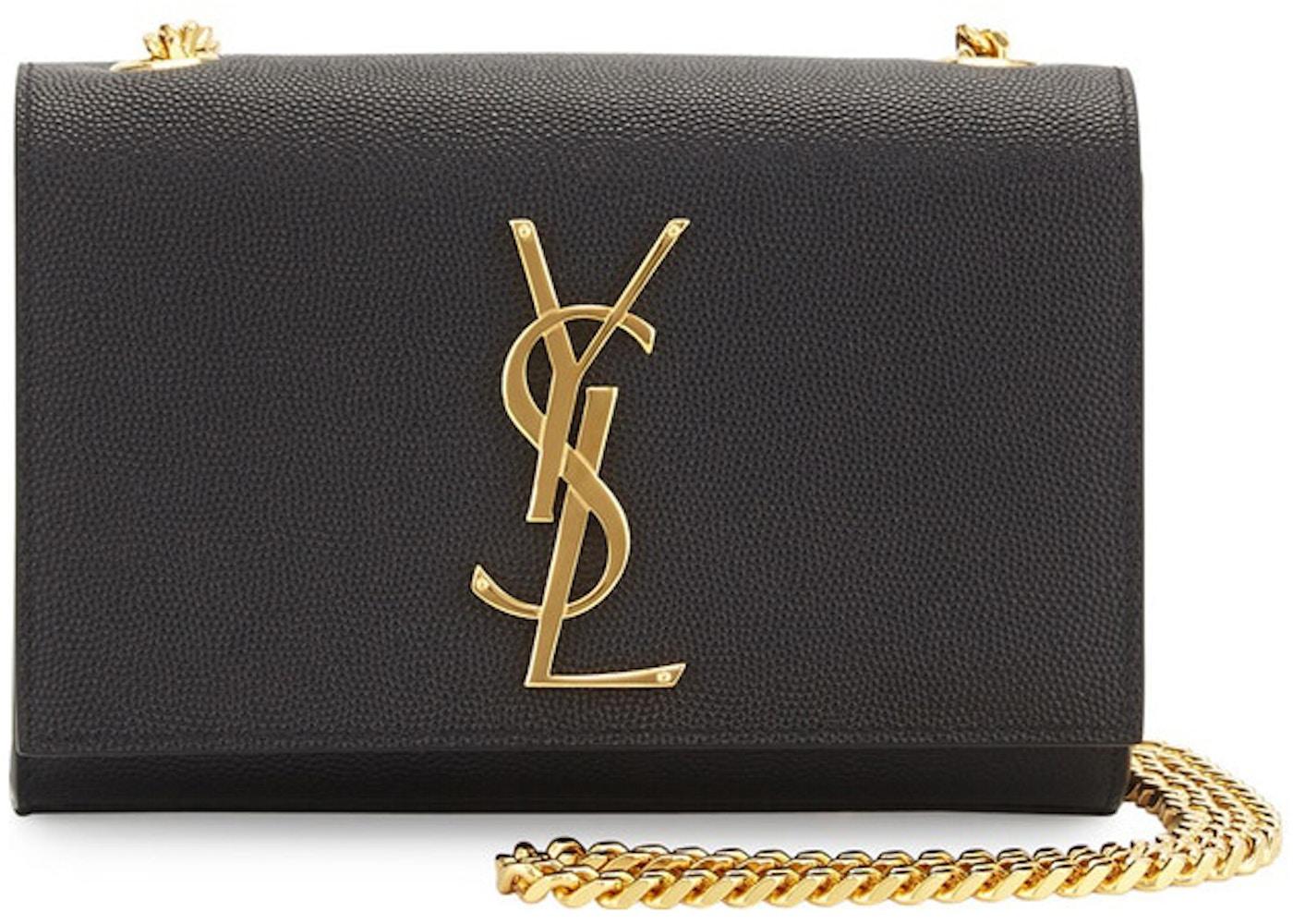 603ac36502 Saint Laurent Kate Crossbody YSL Pebbled Black