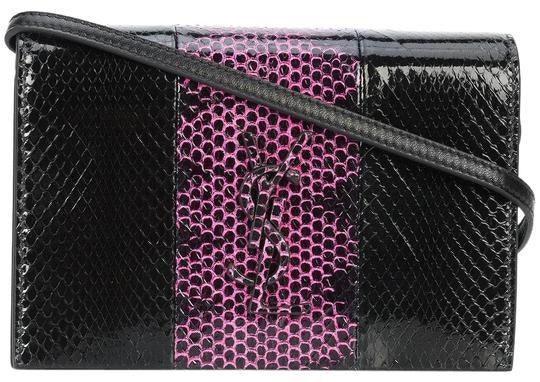 Saint Laurent Kate Shoulder Bag Snakeskin Black/Pink