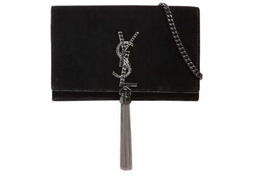 Saint Laurent Kate Velvet Wallet on Chain Tassel & Crystals Black
