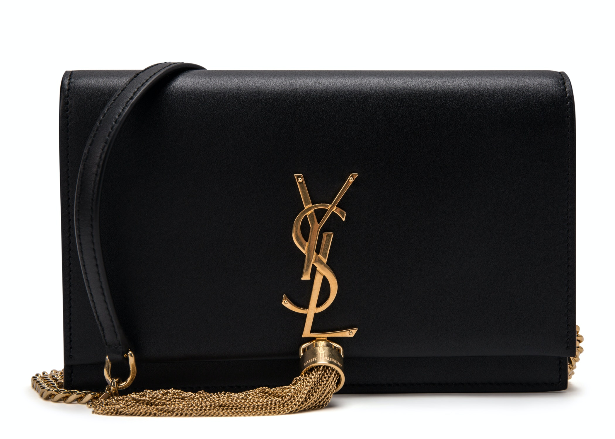 Saint Laurent Kate Wallet on Chain Tassel Black