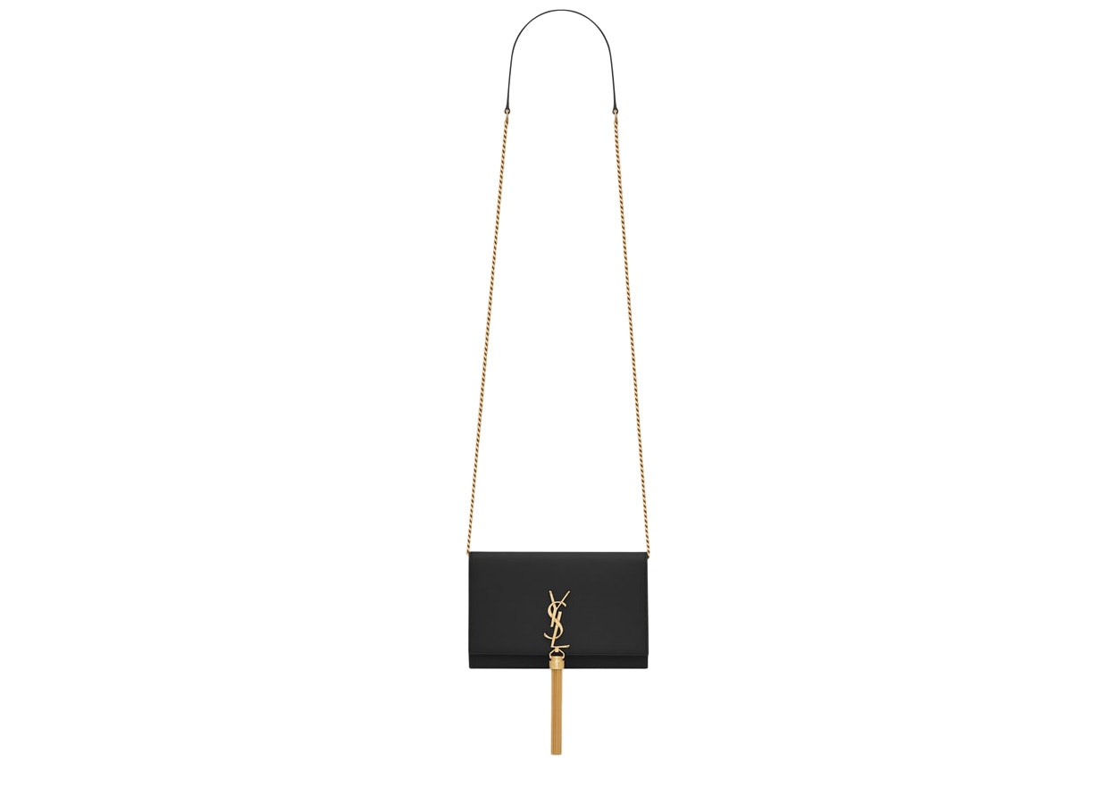 Saint Laurent Kate Wallet on Chain Tassel Black