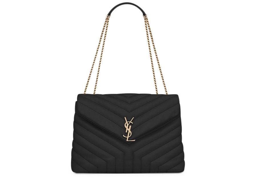 Saint Laurent Loulou Bag Matelasse Y Leather Gold-tone Medium Black