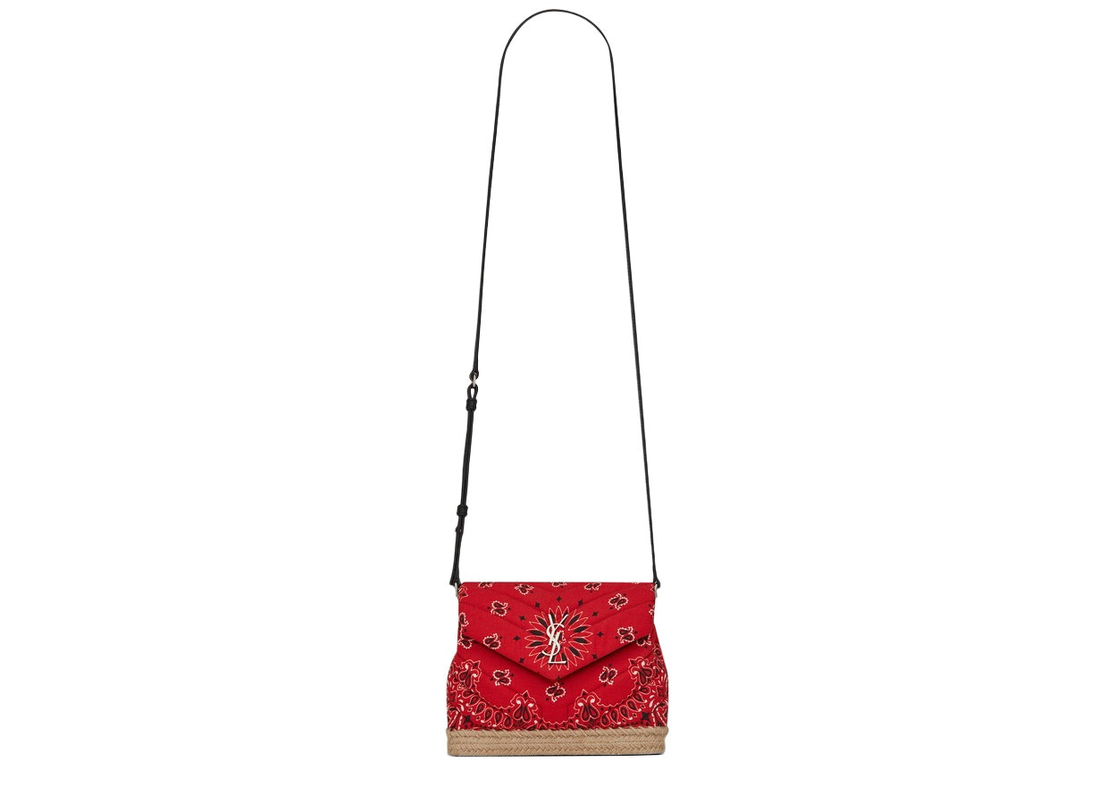 Saint Laurent Loulou Toy Bag Bandana Silver-tone Red