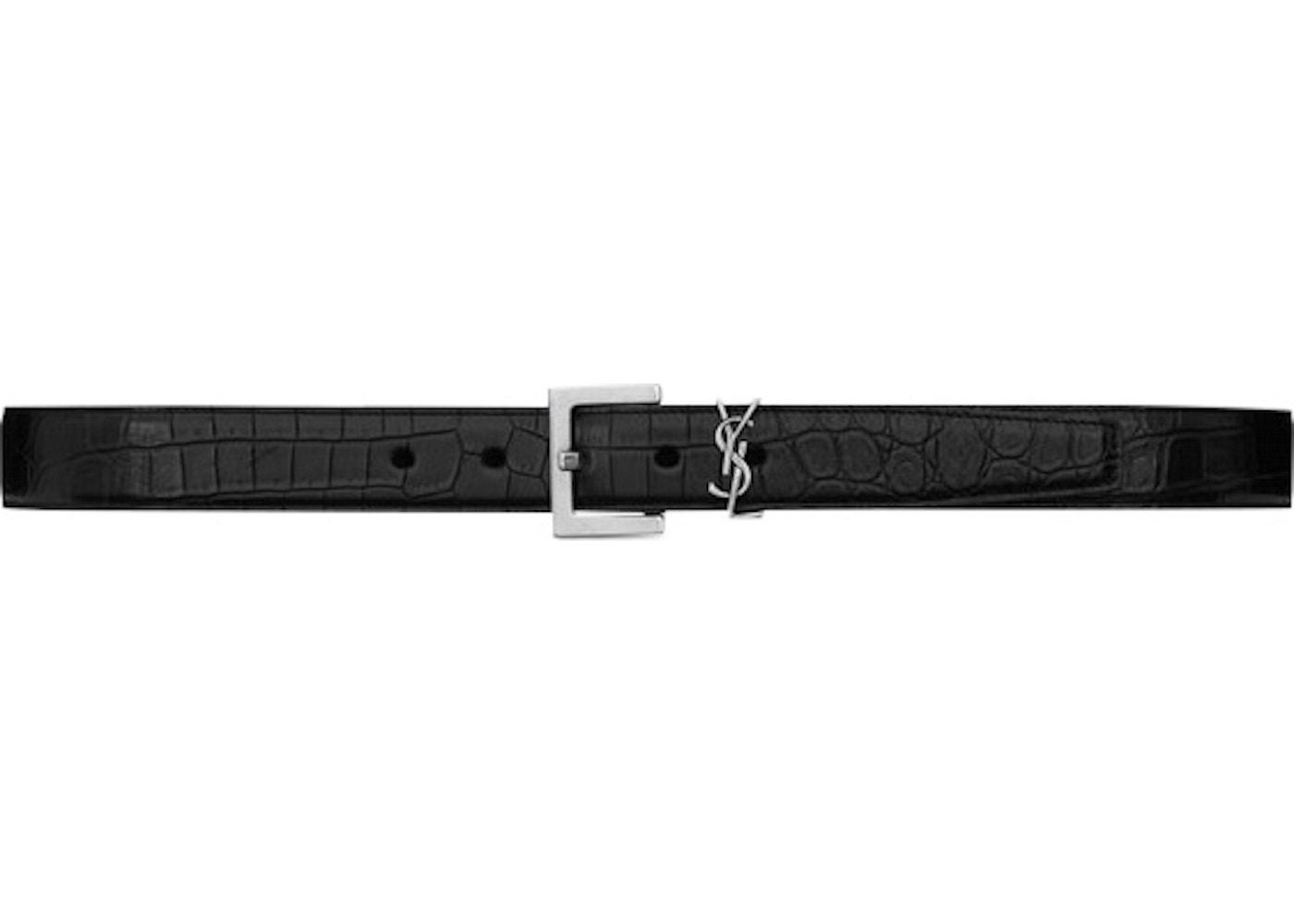 0354e7016c0e Saint Laurent Monogram Belt Matte Crocodile Embossed Leather ...