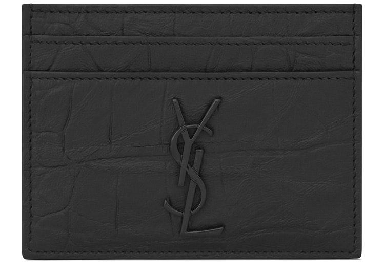Saint Laurent Monogram Card Case Crocodile Embossed Leather Black