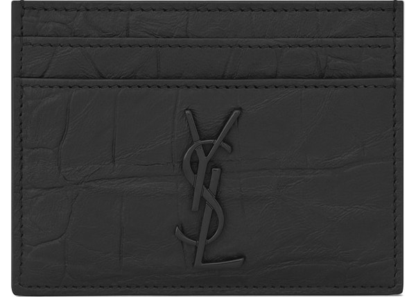 d44c4e78c336 Saint Laurent Monogram Card Case Crocodile Embossed Leather Black