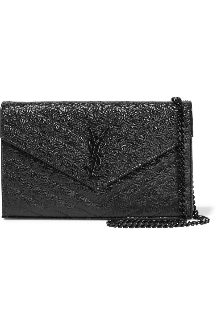 Saint Laurent Monogram Envelope Chain Wallet Black