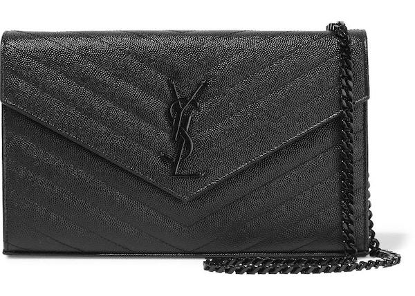 62e2373f25f Saint Laurent Monogram Envelope Chain Wallet Black