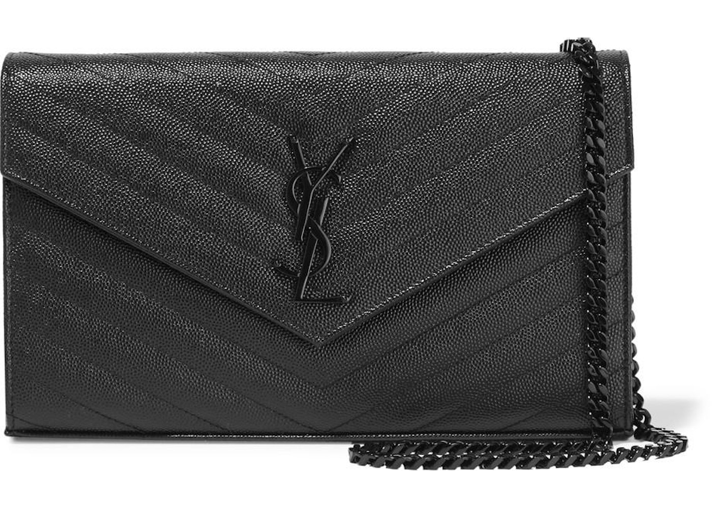 4266db624f7 Saint Laurent Monogram Envelope Chain Wallet Black. Black