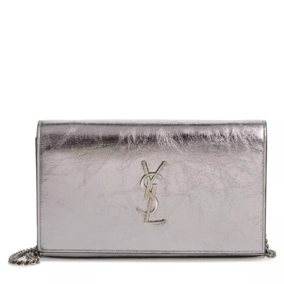 Saint Laurent Monogram Chain Wallet Metallic Medium Silver