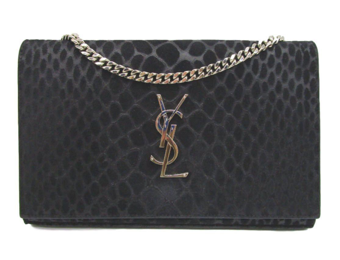 Saint Laurent Monogram Chain Wallet Suede Crocodile Medium Black